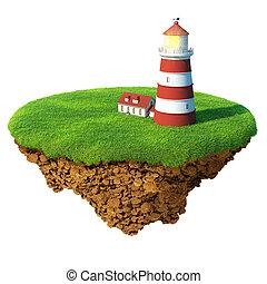 détaillé, phare, concept, island., reussite, base., ...