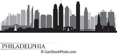 détaillé, philadelphie, horizon, ville, silhouette