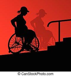 détaillé, pregnant, fauteuil roulant, jeune, handicapé, ...