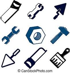détaillé, réparation, ensemble, outils, th, 3d