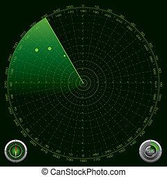 détaillé, radar, écran, illustration