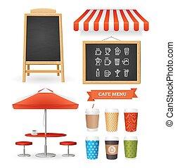 détaillé, restaurant, set., caffee, réaliste, vecteur, icône, 3d