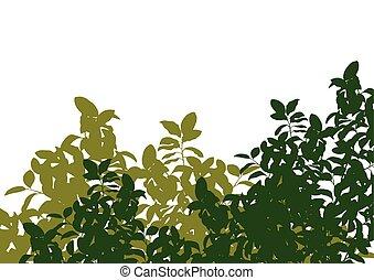détaillé, silhouette, nature, feuilles, arbre, illustration, arrière-plan vert