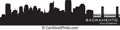 détaillé, silhouette, sacramento, vecteur, californie, skyline.