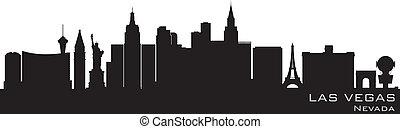 détaillé, silhouette, vegas, vecteur, skyline., nevada, las
