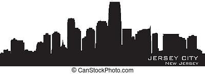 détaillé, silhouette, ville, nouveau, skyline., jersey