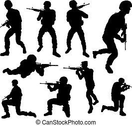 détaillé, soldat, élevé, qualité, silhouettes