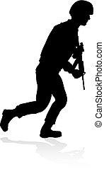 détaillé, soldat, silhouette, militaire