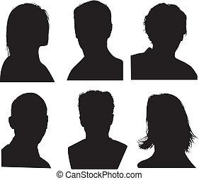 détaillé, tête, silhouettes