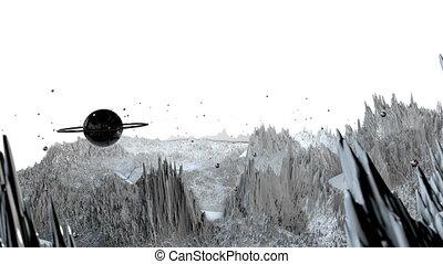 détaillé, timelapse., render, angle, surface, vaisseau spatial, 82, paysage, espace, 3d, très, planet., examen, environment., fond, fiction, large, science, cosmique, planète, soulagement, ou, vue