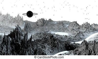 détaillé, timelapse., render, angle, surface, vaisseau spatial, paysage, espace, 3d, très, planet., examen, environment., fond, fiction, 79, large, science, cosmique, planète, soulagement, ou, vue