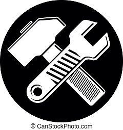 détaillé, toile, usage, tools., maillet, ustensile, industrie, travail, publicité, illustration, symbole, placé, vecteur, clé, clé, design., marteau, traversé, cercle