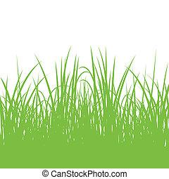 détaillé, usines, illustration, herbe, silhouettes, fond,...