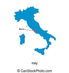 détaillé, vecteur, carte italie, et, ville capitale, rome