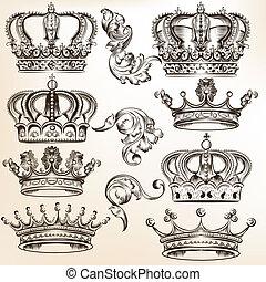 détaillé, vecteur, couronne, collection