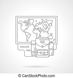 détaillé, vecteur, illustration, planification, ligne, voyage