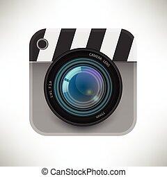 détaillé, vecteur, isolé, illustration, unique, appareil photo, icône