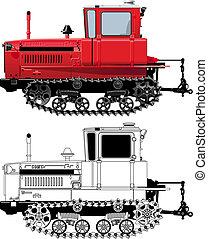 détaillé, vecteur, tracteur