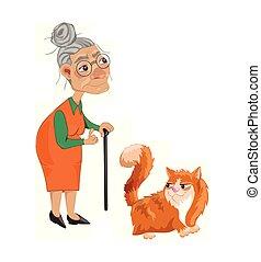 détaillé, vieux, caractère, chat, vector., illustrations, dame, dessin animé