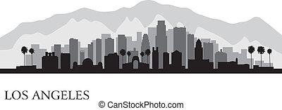 détaillé, ville, silhouette, angeles, los, horizon