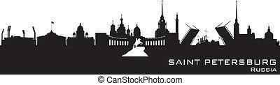 détaillé, ville, silhouette, horizon, petersburg, saint, russie