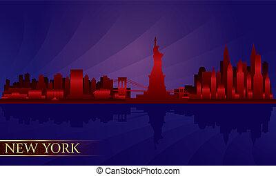 détaillé, ville, silhouette, horizon, york, nuit, nouveau