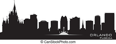 détaillé, ville, silhouette, orlando, floride, skyline.