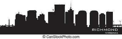 détaillé, ville, silhouette, richmond, virginie, skyline.