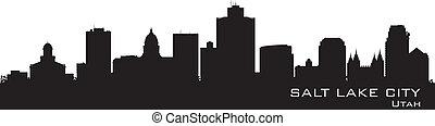 détaillé, ville, silhouette, ville, utah, lac, skyline., sel