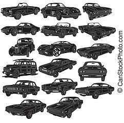 détaillé, voitures, -, paquet