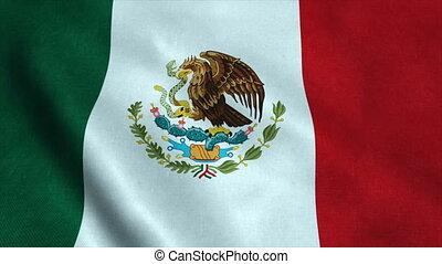 détaillé, wind., mexique, ultra-hd, seamless, texture, hautement, onduler, réaliste, drapeau, boucle, tissu