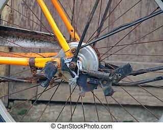 détails, de, roue bicyclette