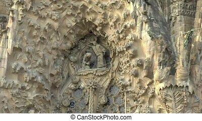 détails, sagrada, la, familia, de, barcelona., bas?lica, architectural