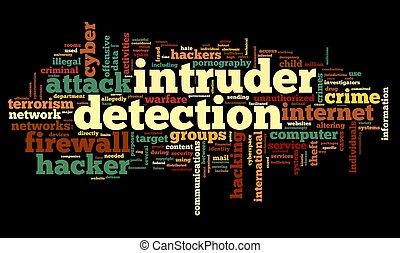 détection, concept, étiquette, intrus, nuage