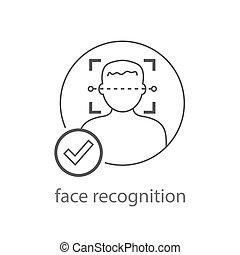 détection, eps, homme, reconnaissance, illustration., faces...