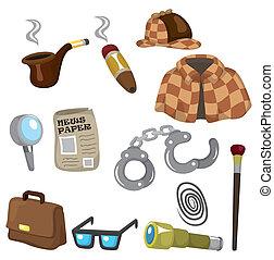 détective, équipement, ensemble, dessin animé, icône