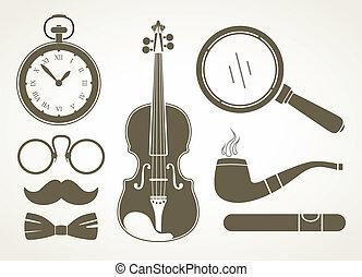détective, accessoires, retro