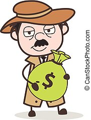 détective, argent, illustration, sac, vecteur, tenue, dessin animé