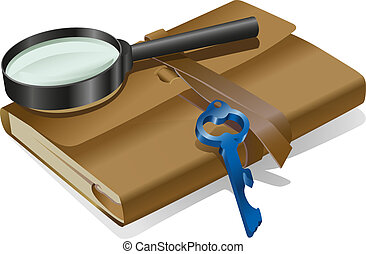 détective, cahier, clã©