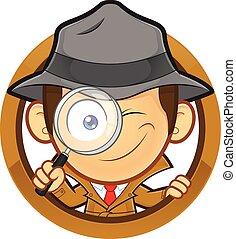 détective, cercle, forme