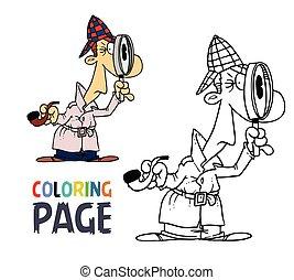 détective, coloration, dessin animé, page, homme