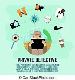 détective, concept, privé