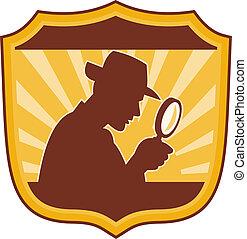 détective, ensemble, bouclier, intérieur, verre, inspecteur, mâle, magnifier