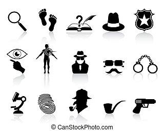 détective, ensemble, noir, icônes