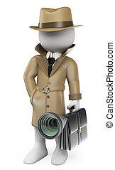 détective, espionage., industriel, gens., blanc, 3d