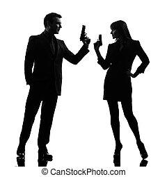 détective, femme, silhouette, couple, agent, top secret,...