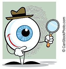 détective, globe oculaire, tenue, grossir