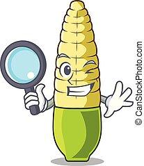 détective, maïs bébé, isolé, mascotte
