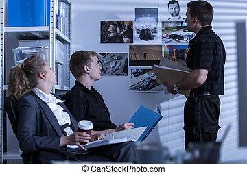 détective, police, coopérer, privé