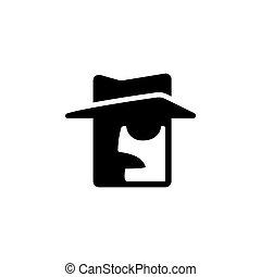 détective, privé, icône
